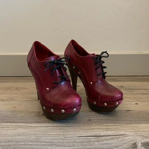 ModCloth Red Lace Up Heels